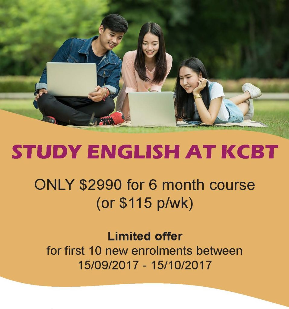 KCBT English Promotion September-October 2017 - Study English for just $115 per week